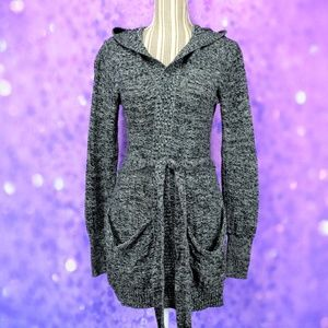 Roxy Hooded Wrap Cardigan Black And White